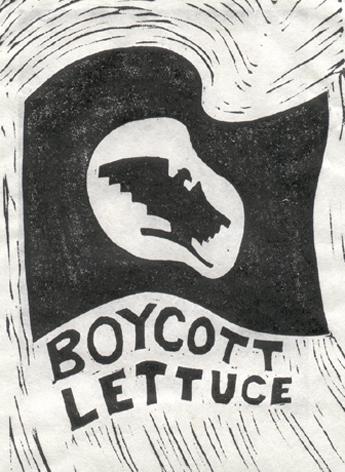 """BOYCOTT LETTUCE HUELGA FLAG"" 1973 - Susan Due Pearcy"