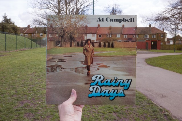 Al Campbell, Rainy Days (Hawkeye, 1978), rephotographed in King Edward VII Park, London NW10, 38 years later.