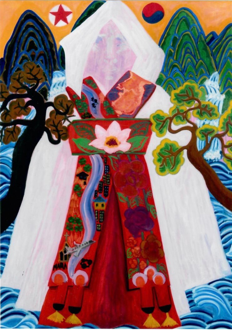 Eunice Kown's painting of a dress and flowers.