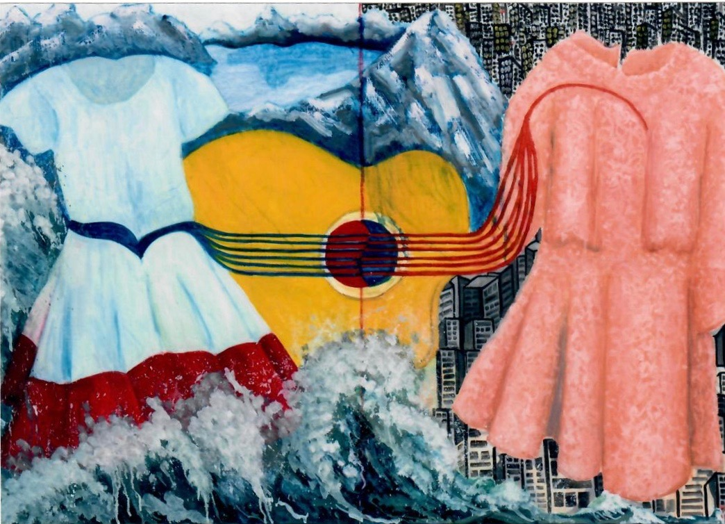 Eunice Kwon's painting of two dresses and a guitar.