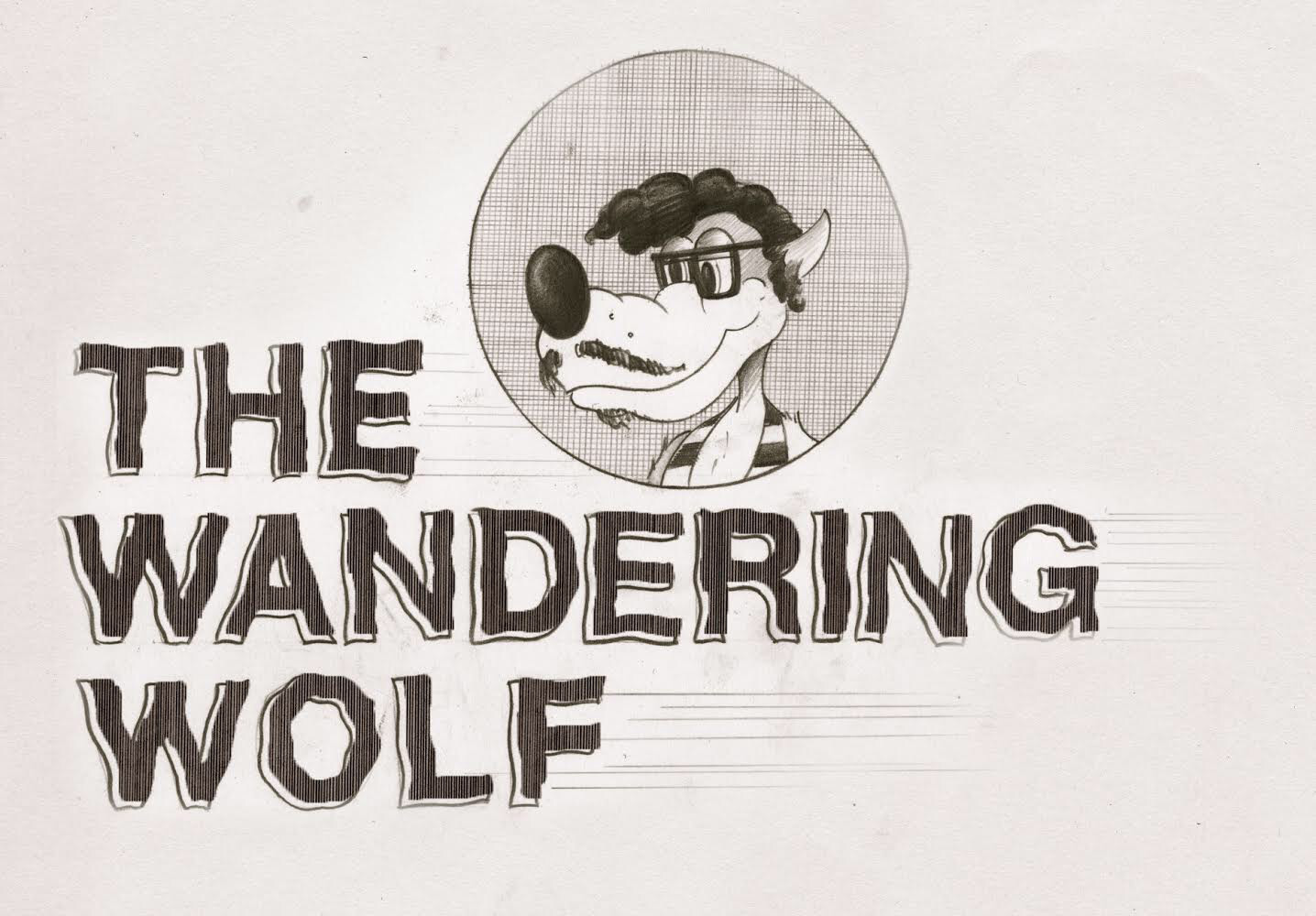 "Wandering Wolf logo with an illustration of a wolf with glasses and text that reads ""The Wandering Wolf"""