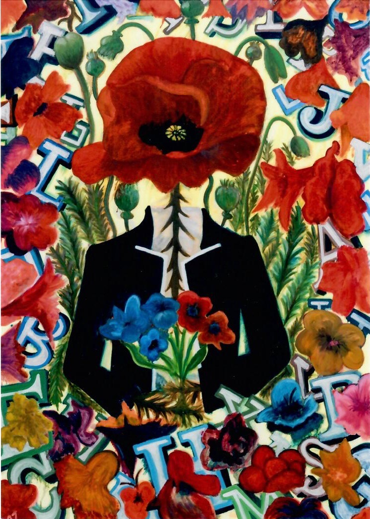 Eunice Kwoon's painting of a figure  with flowers.