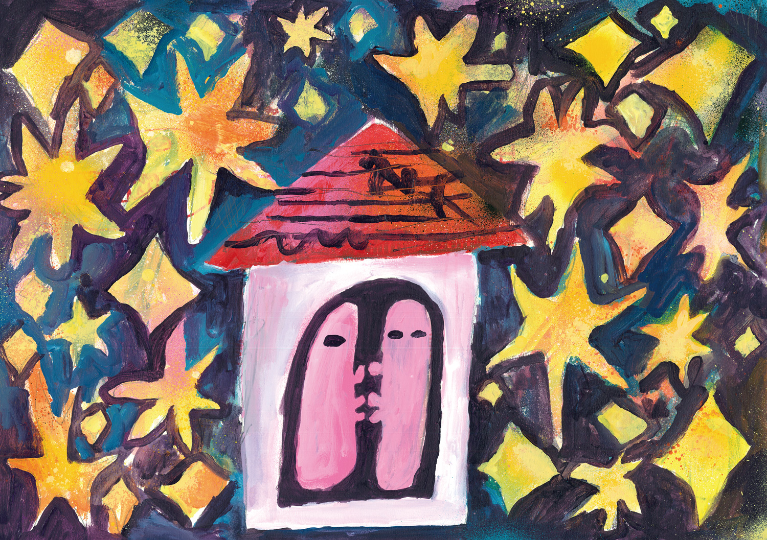A painting of two heads in the stars by Kentaro Okawara.