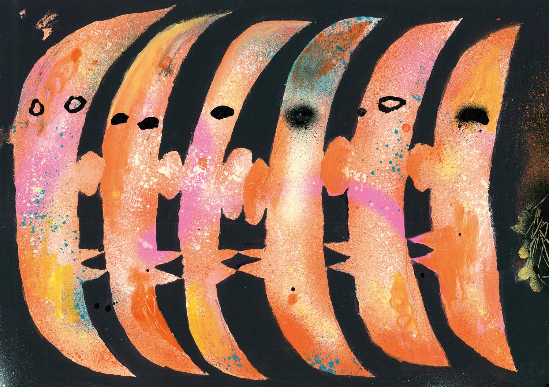 Brightly colored half moons in a painting by Kentaro Okawara.
