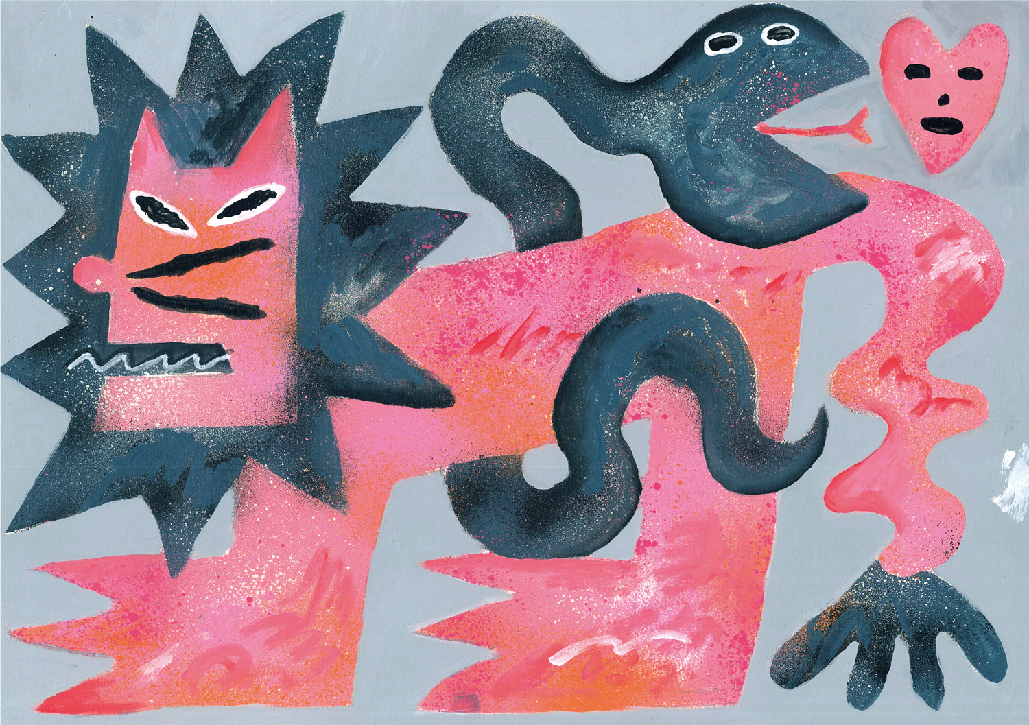 A pink lion intertwined with a snake in a painting by Kentaro Okawara.