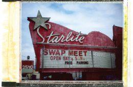 A polaroid of a swap meet sign in San Gabriel Valley.